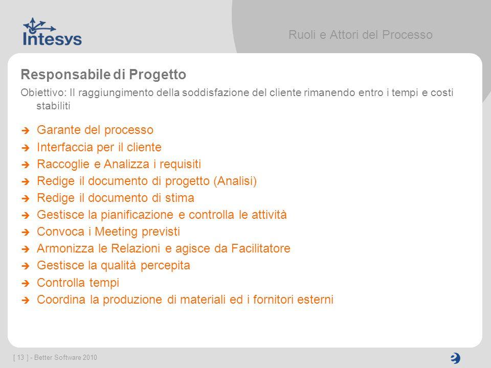 [ 13 ] - Better Software 2010 Ruoli e Attori del Processo Responsabile di Progetto Obiettivo: Il raggiungimento della soddisfazione del cliente rimane