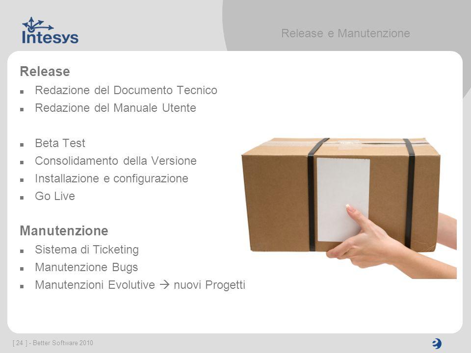 [ 24 ] - Better Software 2010 Release e Manutenzione Release Redazione del Documento Tecnico Redazione del Manuale Utente Beta Test Consolidamento del