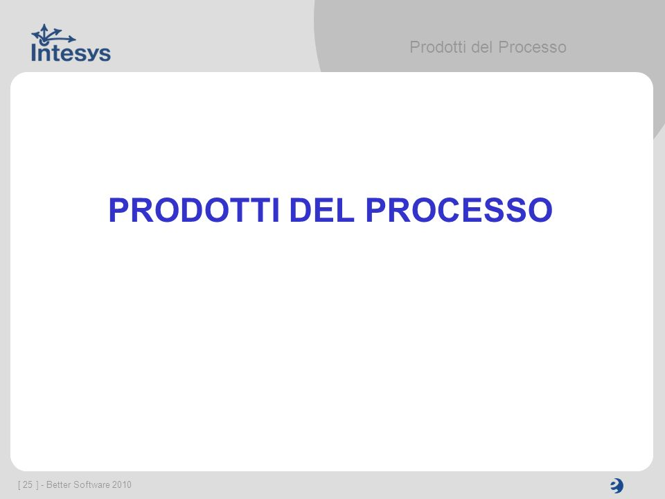 [ 25 ] - Better Software 2010 Prodotti del Processo PRODOTTI DEL PROCESSO