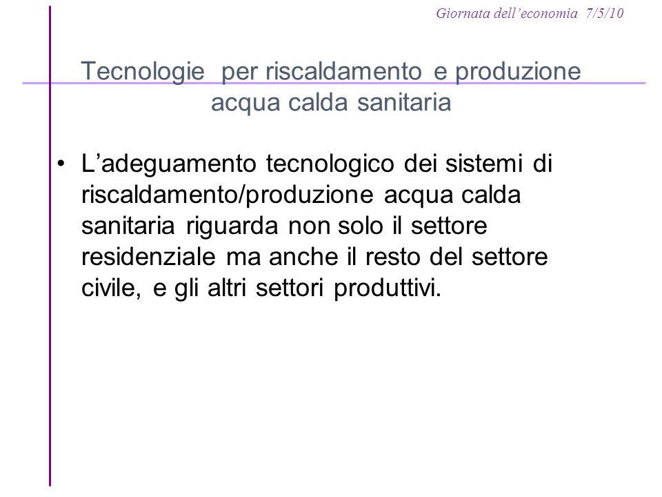 Giornata delleconomia 7/5/10 Tecnologie per riscaldamento e produzione acqua calda sanitaria Ladeguamento tecnologico dei sistemi di riscaldamento/pro