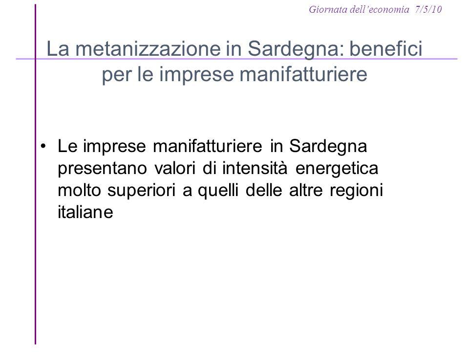 Giornata delleconomia 7/5/10 La metanizzazione in Sardegna: benefici per le imprese manifatturiere Le imprese manifatturiere in Sardegna presentano valori di intensità energetica molto superiori a quelli delle altre regioni italiane
