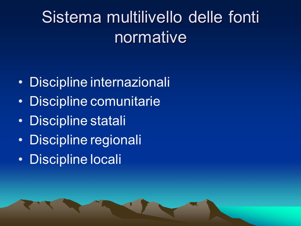 Sistema multilivello di governance O.N.U.