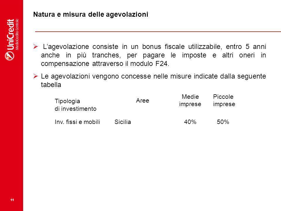 11 Natura e misura delle agevolazioni Lagevolazione consiste in un bonus fiscale utilizzabile, entro 5 anni anche in più tranches, per pagare le impos