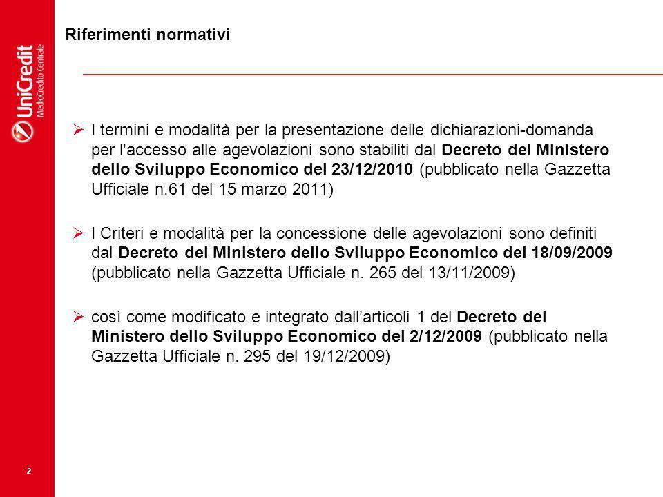 2 I termini e modalità per la presentazione delle dichiarazioni-domanda per l'accesso alle agevolazioni sono stabiliti dal Decreto del Ministero dello