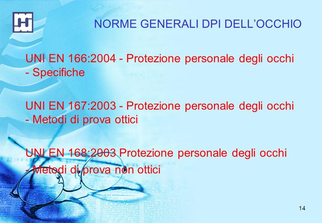 14 UNI EN 166:2004 - Protezione personale degli occhi - Specifiche UNI EN 167:2003 - Protezione personale degli occhi - Metodi di prova ottici UNI EN 168:2003 Protezione personale degli occhi - Metodi di prova non ottici NORME GENERALI DPI DELLOCCHIO