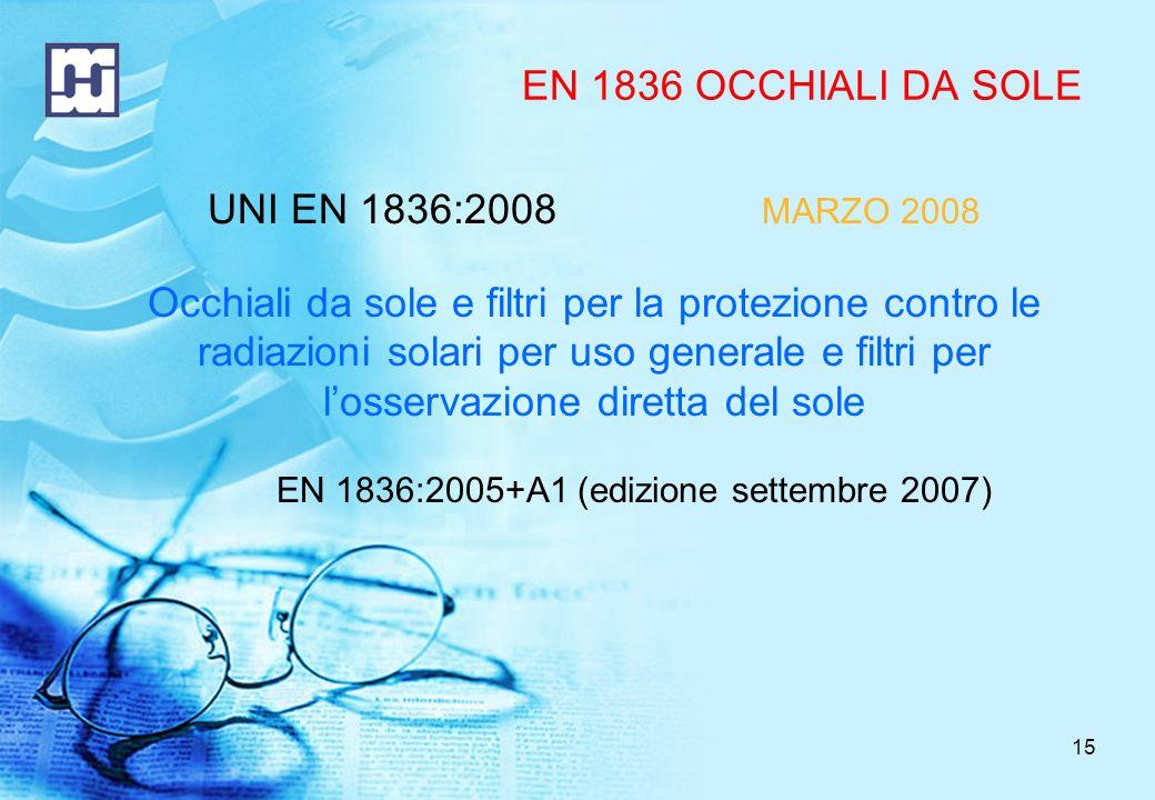 16 EN 1836 : INDICE (1) 4 Requisiti dei filtri Trasmittanza Poteri ottici degli oculari (astigmatico, sferico, prismatico) Luce diffusa Qualità dei materiali e delle superfici Robustezza Resistenza alle radiazioni Resistenza allaccensione 5 Requisiti per occhiali da sole completi (montature e filtri) Caratteristiche meccaniche Resistenza allaccensione Specifiche dei materiali per la fabbricazione di occhiali completi