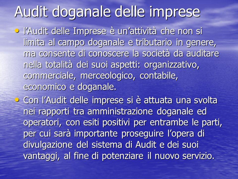 Audit doganale delle imprese lAudit delle Imprese è unattività che non si limita al campo doganale e tributario in genere, ma consente di conoscere la