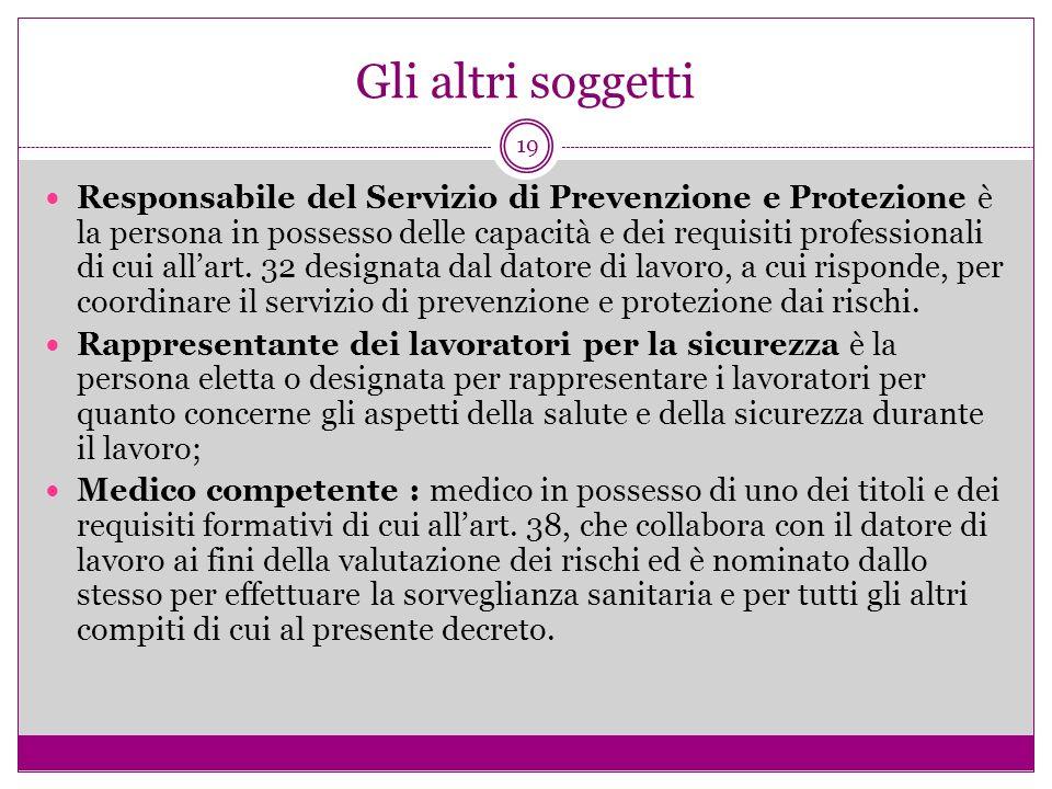 19 Gli altri soggetti Responsabile del Servizio di Prevenzione e Protezione è la persona in possesso delle capacità e dei requisiti professionali di c