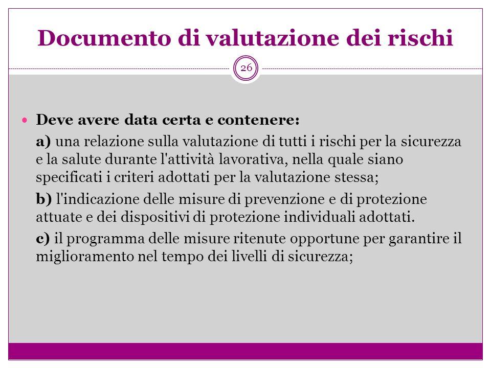 26 Documento di valutazione dei risc hi Deve avere data certa e contenere: a) una relazione sulla valutazione di tutti i rischi per la sicurezza e la