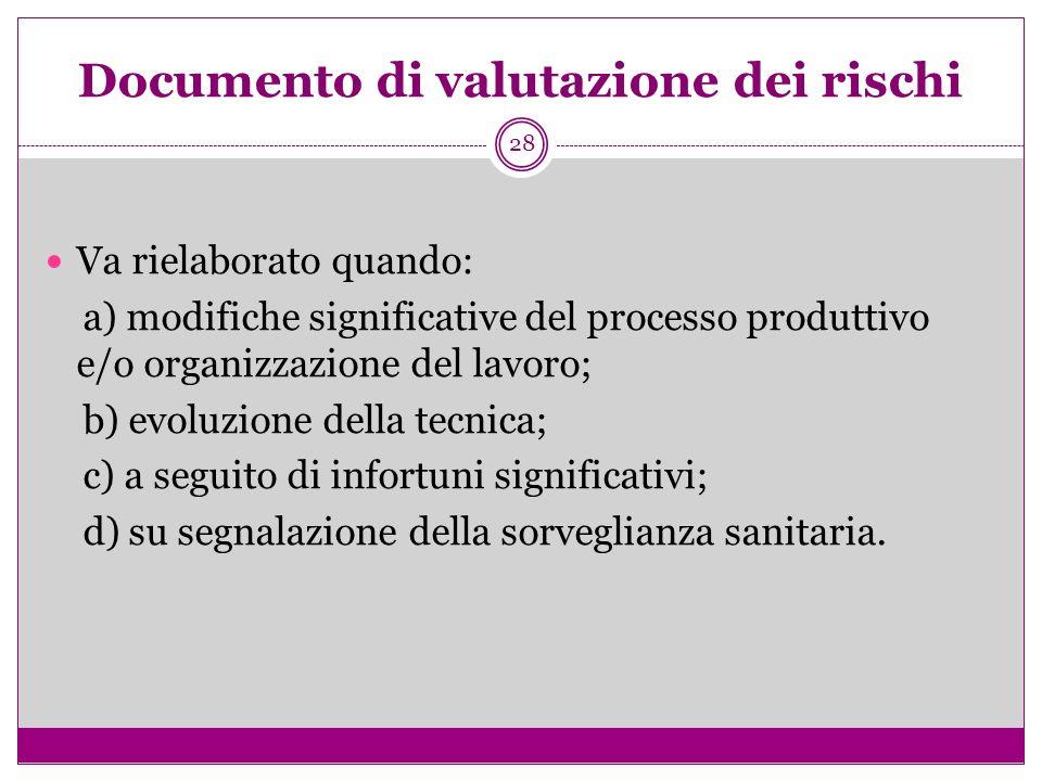 28 Documento di valutazione dei rischi Va rielaborato quando: a) modifiche significative del processo produttivo e/o organizzazione del lavoro; b) evo