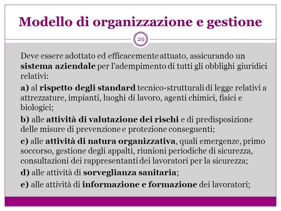 29 Modello di organizzazione e gestione Deve essere adottato ed efficacemente attuato, assicurando un sistema aziendale per l'adempimento di tutti gli