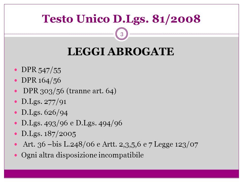 3 Testo Unico D.Lgs. 81/2008 LEGGI ABROGATE DPR 547/55 DPR 164/56 DPR 303/56 (tranne art. 64) D.Lgs. 277/91 D.Lgs. 626/94 D.Lgs. 493/96 e D.Lgs. 494/9
