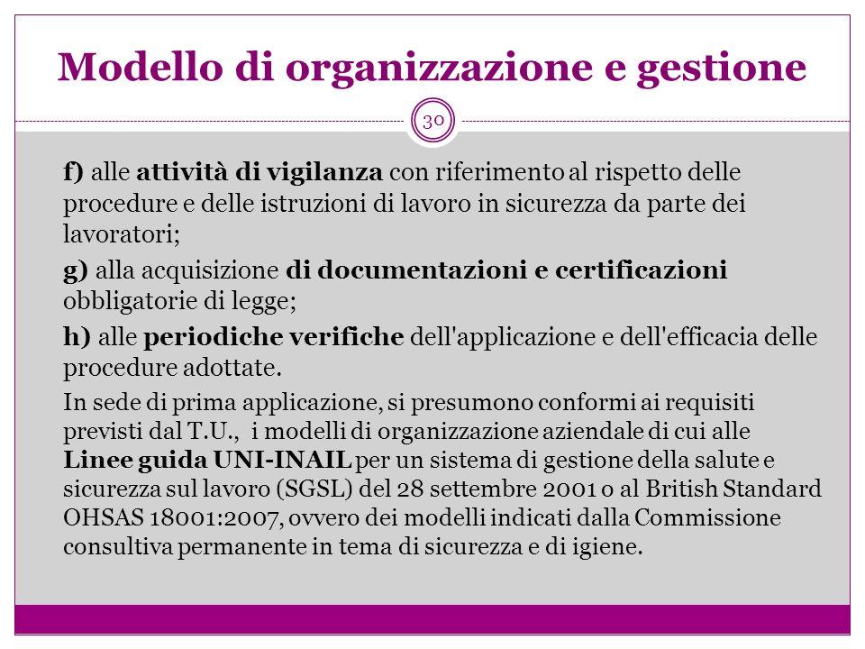30 Modello di organizzazione e gestione f) alle attività di vigilanza con riferimento al rispetto delle procedure e delle istruzioni di lavoro in sicu