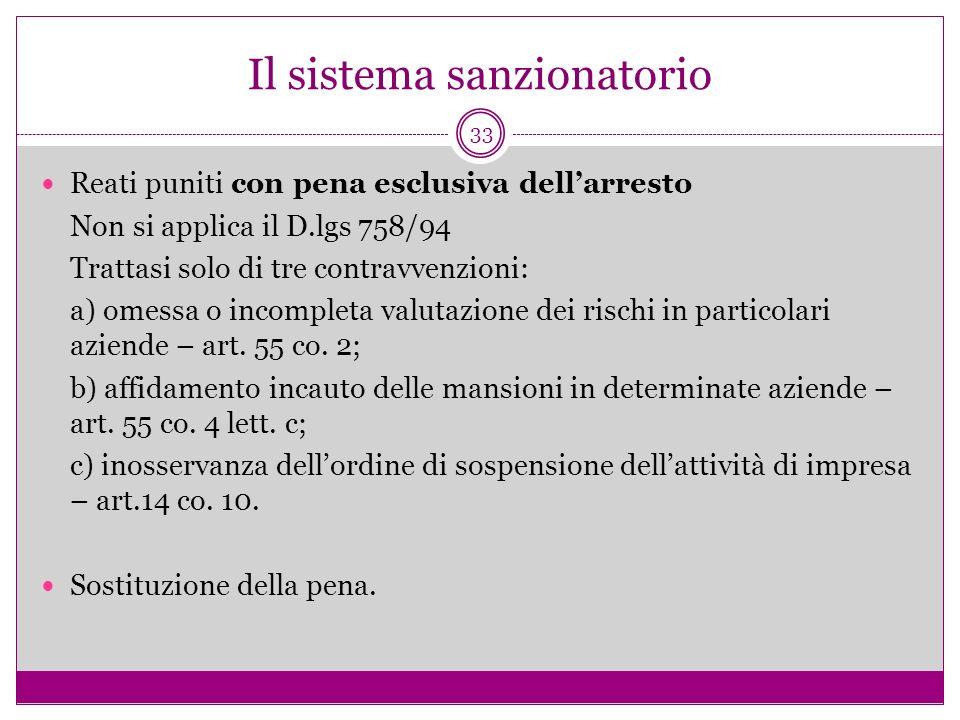 33 Il sistema sanzionatorio Reati puniti con pena esclusiva dellarresto Non si applica il D.lgs 758/94 Trattasi solo di tre contravvenzioni: a) omessa