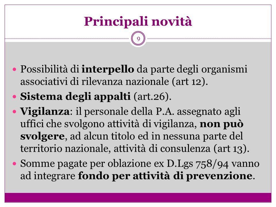 9 Principali novità Possibilità di interpello da parte degli organismi associativi di rilevanza nazionale (art 12). Sistema degli appalti (art.26). Vi