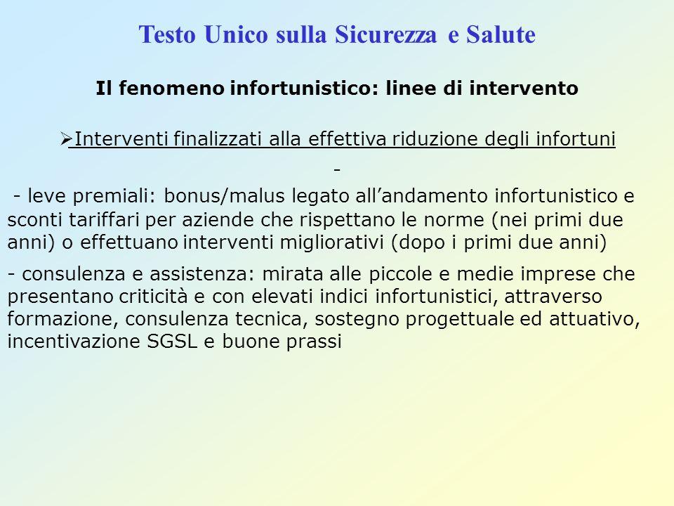 Testo Unico sulla Sicurezza e Salute Il fenomeno infortunistico: linee di intervento Interventi finalizzati alla effettiva riduzione degli infortuni -