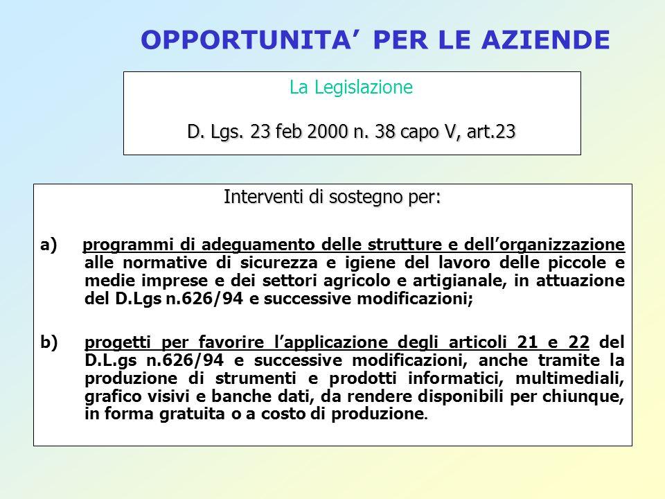 D. Lgs. 23 feb 2000 n. 38 capo V, art.23 La Legislazione D. Lgs. 23 feb 2000 n. 38 capo V, art.23 Interventi di sostegno per: a) programmi di adeguame