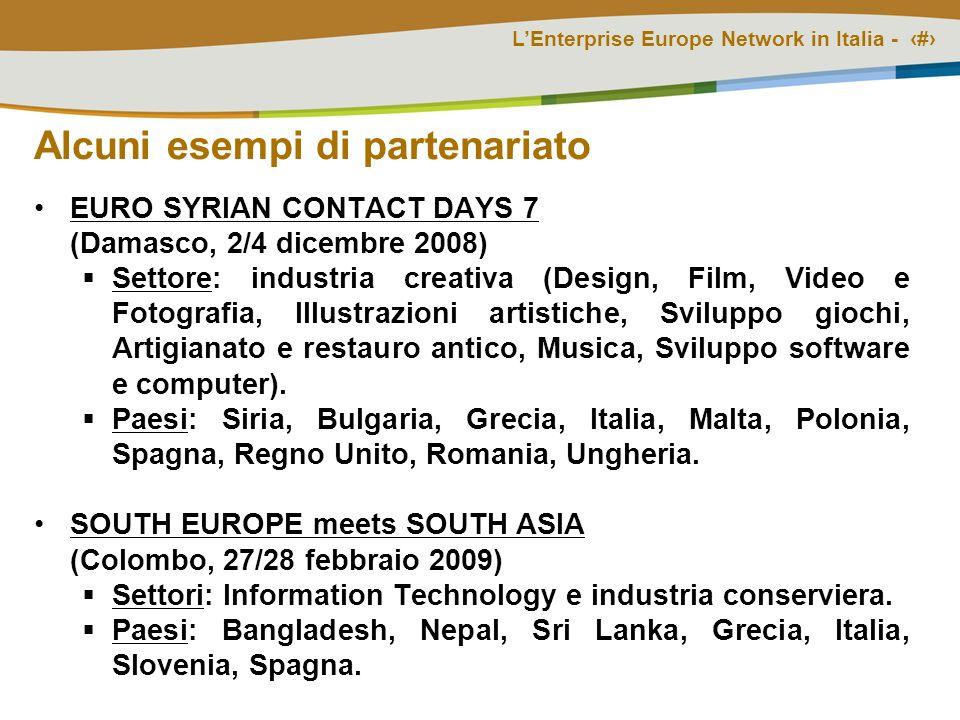 LEnterprise Europe Network in Italia - # Alcuni esempi di partenariato EURO SYRIAN CONTACT DAYS 7 (Damasco, 2/4 dicembre 2008) Settore: industria crea
