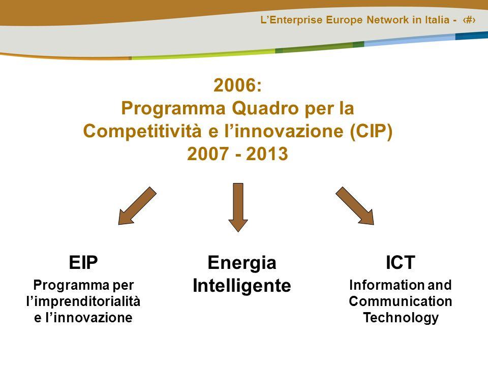 LEnterprise Europe Network in Italia - # 2006: Programma Quadro per la Competitività e linnovazione (CIP) 2007 - 2013 EIP Programma per limprenditorialità e linnovazione Energia Intelligente ICT Information and Communication Technology