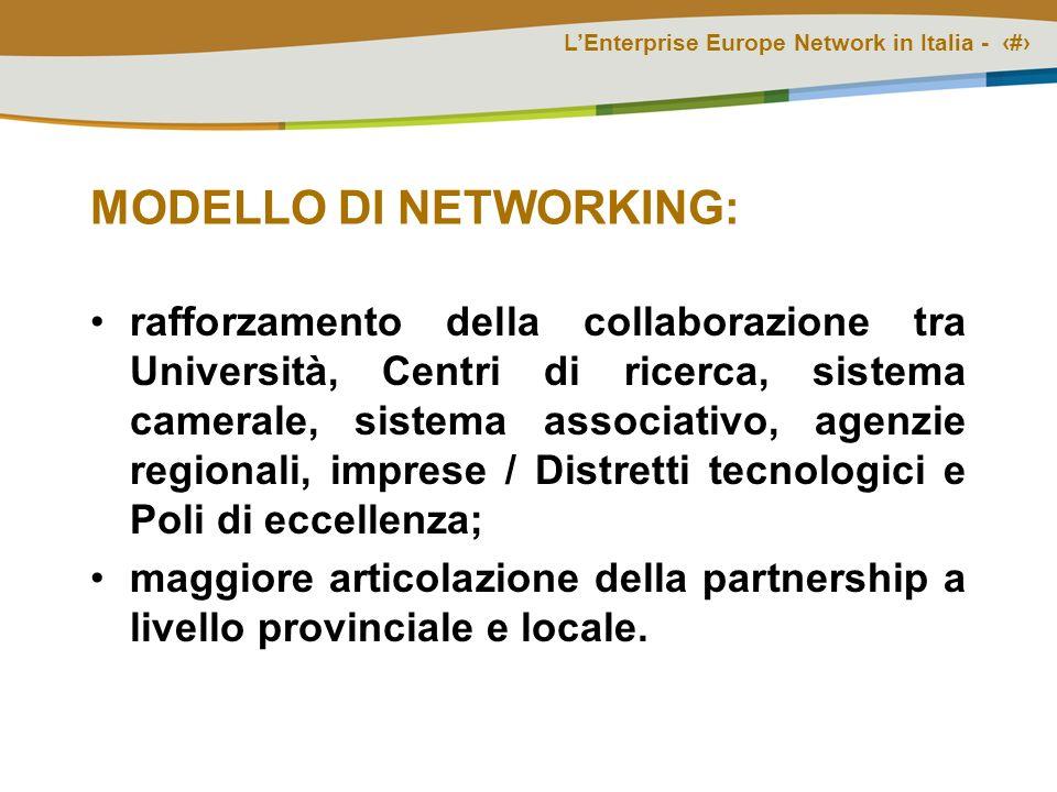 LEnterprise Europe Network in Italia - # MODELLO DI NETWORKING: rafforzamento della collaborazione tra Università, Centri di ricerca, sistema camerale, sistema associativo, agenzie regionali, imprese / Distretti tecnologici e Poli di eccellenza; maggiore articolazione della partnership a livello provinciale e locale.