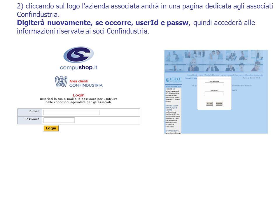 2) cliccando sul logo l'azienda associata andrà in una pagina dedicata agli associati Confindustria. Digiterà nuovamente, se occorre, userId e passw,