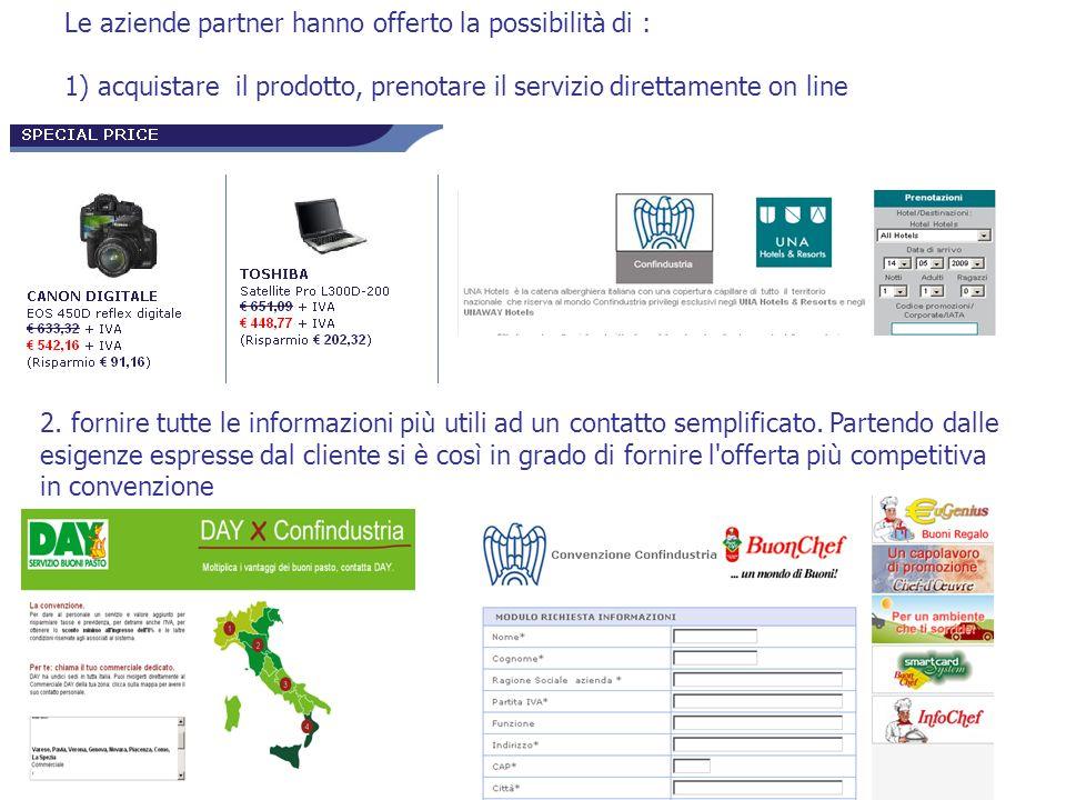Le aziende partner hanno offerto la possibilità di : 1) acquistare il prodotto, prenotare il servizio direttamente on line 2. fornire tutte le informa