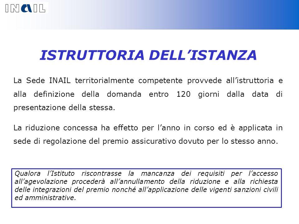 ISTRUTTORIA DELLISTANZA La Sede INAIL territorialmente competente provvede allistruttoria e alla definizione della domanda entro 120 giorni dalla data di presentazione della stessa.