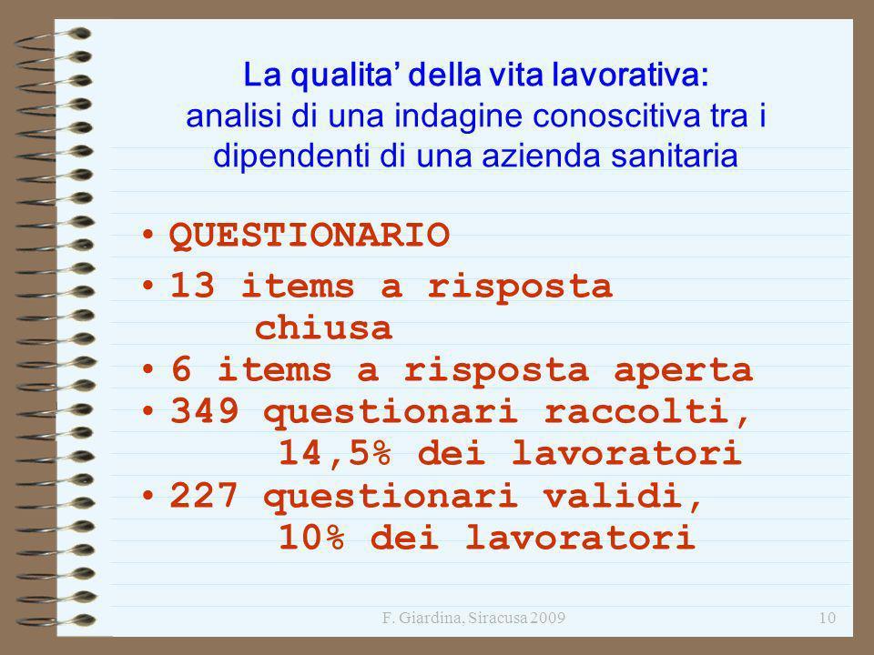 F. Giardina, Siracusa 200910 La qualita della vita lavorativa: analisi di una indagine conoscitiva tra i dipendenti di una azienda sanitaria QUESTIONA