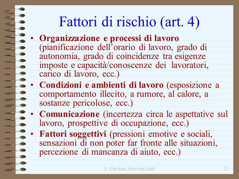 F. Giardina, Siracusa 200921 Fattori di rischio (art. 4) Organizzazione e processi di lavoro (pianificazione dellorario di lavoro, grado di autonomia,