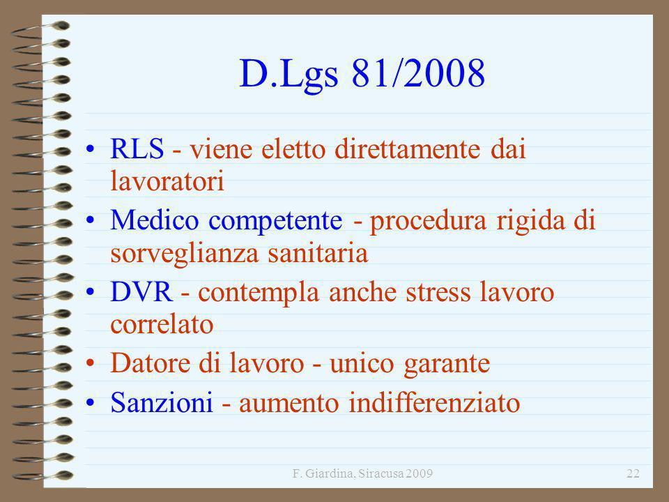 F. Giardina, Siracusa 200922 D.Lgs 81/2008 RLS - viene eletto direttamente dai lavoratori Medico competente - procedura rigida di sorveglianza sanitar