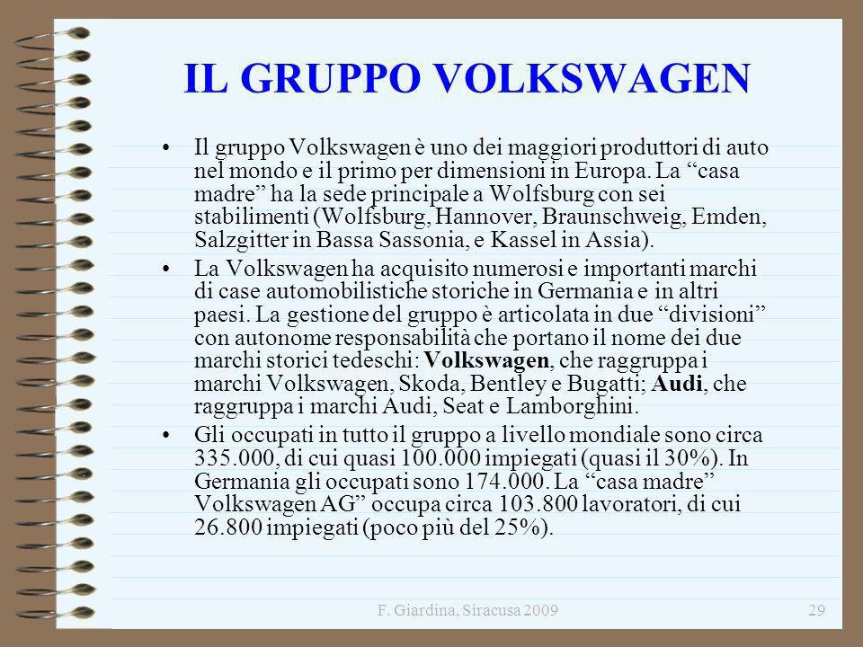 F. Giardina, Siracusa 200929 IL GRUPPO VOLKSWAGEN Il gruppo Volkswagen è uno dei maggiori produttori di auto nel mondo e il primo per dimensioni in Eu