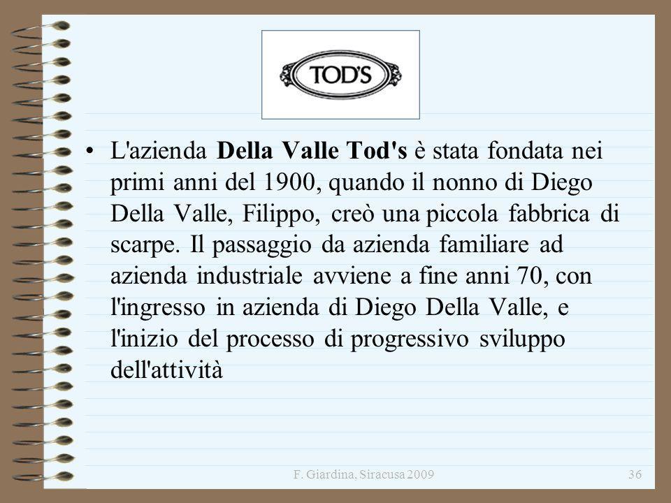 F. Giardina, Siracusa 200936 L'azienda Della Valle Tod's è stata fondata nei primi anni del 1900, quando il nonno di Diego Della Valle, Filippo, creò