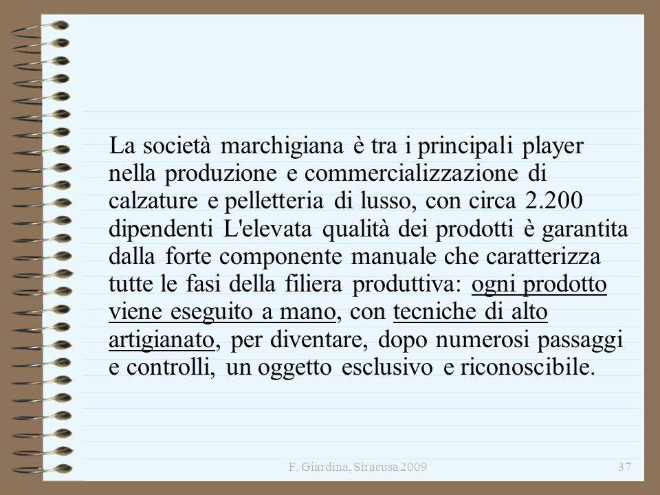F. Giardina, Siracusa 200937 La società marchigiana è tra i principali player nella produzione e commercializzazione di calzature e pelletteria di lus