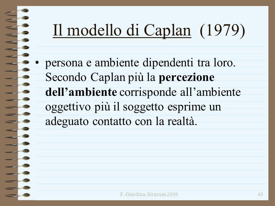 F. Giardina, Siracusa 200940 Il modello di Caplan (1979) persona e ambiente dipendenti tra loro. Secondo Caplan più la percezione dellambiente corrisp