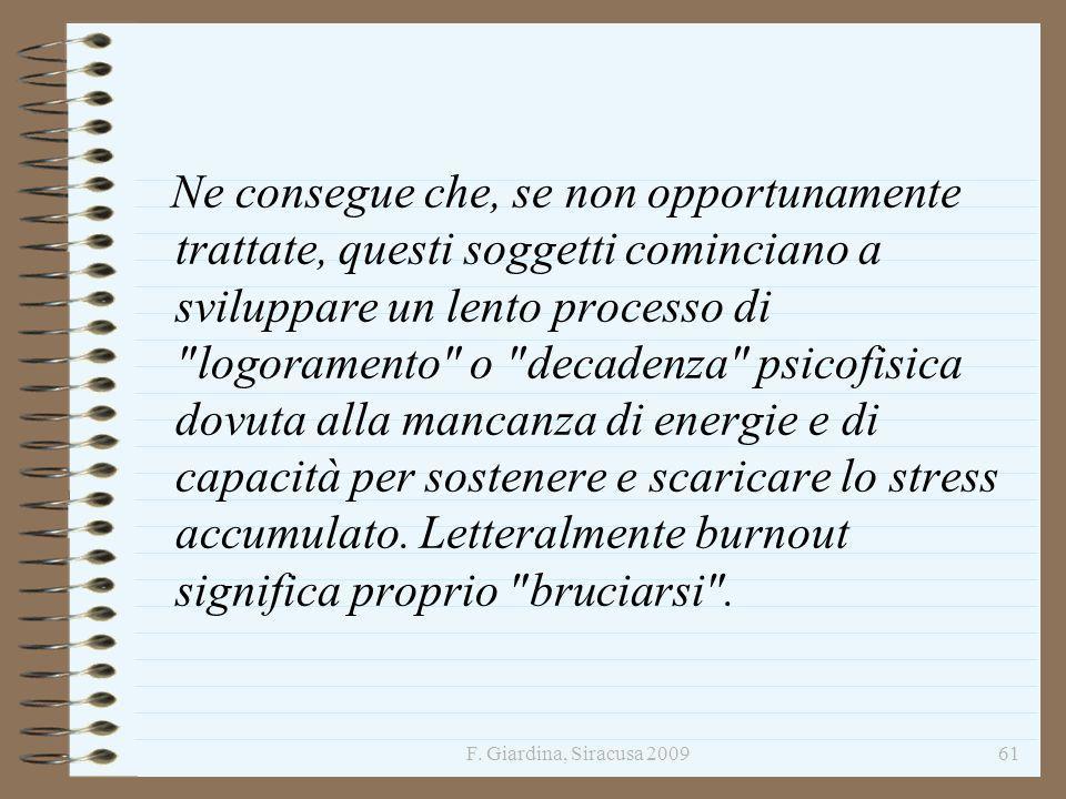 F. Giardina, Siracusa 200961 Ne consegue che, se non opportunamente trattate, questi soggetti cominciano a sviluppare un lento processo di