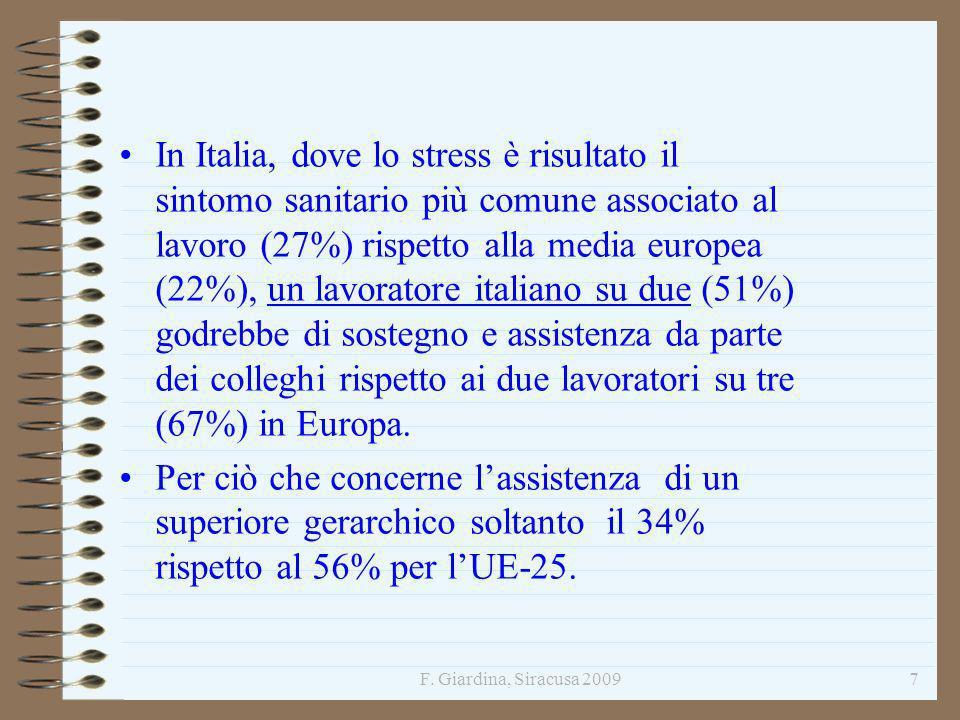 F. Giardina, Siracusa 20097 In Italia, dove lo stress è risultato il sintomo sanitario più comune associato al lavoro (27%) rispetto alla media europe