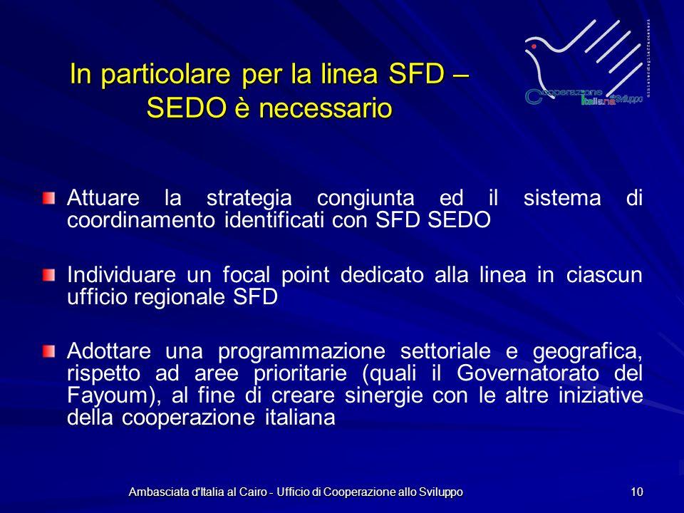 Ambasciata d Italia al Cairo - Ufficio di Cooperazione allo Sviluppo 10 In particolare per la linea SFD – SEDO è necessario Attuare la strategia congiunta ed il sistema di coordinamento identificati con SFD SEDO Individuare un focal point dedicato alla linea in ciascun ufficio regionale SFD Adottare una programmazione settoriale e geografica, rispetto ad aree prioritarie (quali il Governatorato del Fayoum), al fine di creare sinergie con le altre iniziative della cooperazione italiana