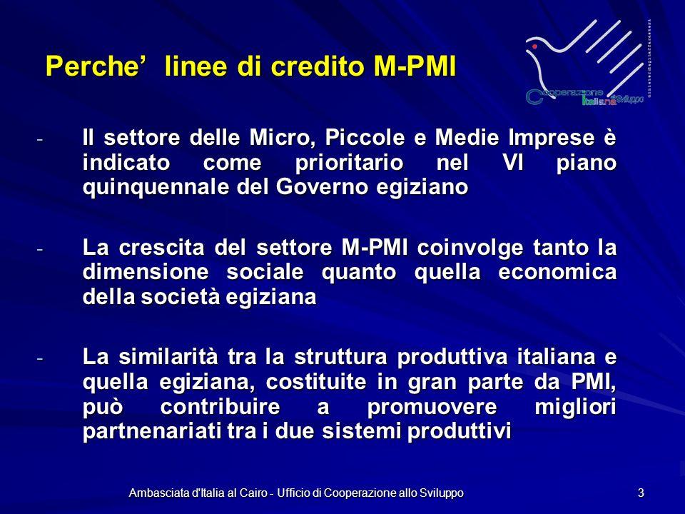 Ambasciata d Italia al Cairo - Ufficio di Cooperazione allo Sviluppo 3 Perche linee di credito M-PMI - Il settore delle Micro, Piccole e Medie Imprese è indicato come prioritario nel VI piano quinquennale del Governo egiziano - La crescita del settore M-PMI coinvolge tanto la dimensione sociale quanto quella economica della società egiziana - La similarità tra la struttura produttiva italiana e quella egiziana, costituite in gran parte da PMI, può contribuire a promuovere migliori partnenariati tra i due sistemi produttivi