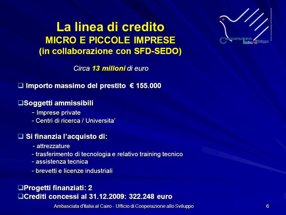 Ambasciata d Italia al Cairo - Ufficio di Cooperazione allo Sviluppo 6 La linea di credito MICRO E PICCOLE IMPRESE (in collaborazione con SFD-SEDO) Circa 13 milioni di euro Circa 13 milioni di euro Importo massimo del prestito 155.000 Importo massimo del prestito 155.000 Soggetti ammissibili Soggetti ammissibili - Imprese private - Centri di ricerca / Universita Si finanzia lacquisto di: Si finanzia lacquisto di: - attrezzature - attrezzature - trasferimento di tecnologia e relativo training tecnico - trasferimento di tecnologia e relativo training tecnico - assistenza tecnica - assistenza tecnica - brevetti e licenze industriali - brevetti e licenze industriali Progetti finanziati: 2 Progetti finanziati: 2 Crediti concessi al 31.12.2009: 322.248 euro Crediti concessi al 31.12.2009: 322.248 euro