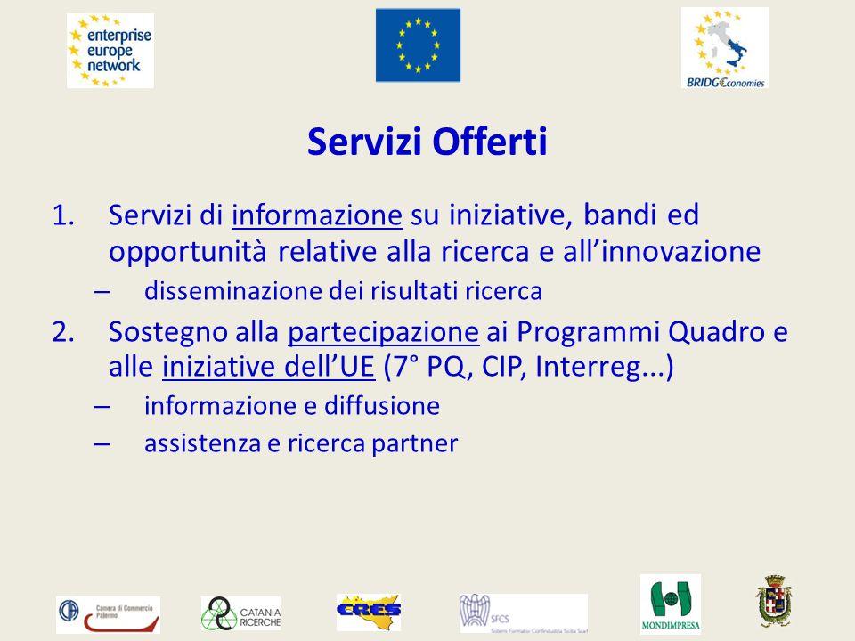 Servizi Offerti 1.Servizi di informazione su iniziative, bandi ed opportunità relative alla ricerca e allinnovazione – disseminazione dei risultati ri