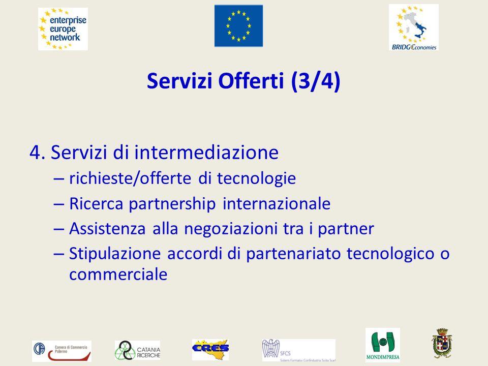 Servizi Offerti (3/4) 4. Servizi di intermediazione – richieste/offerte di tecnologie – Ricerca partnership internazionale – Assistenza alla negoziazi