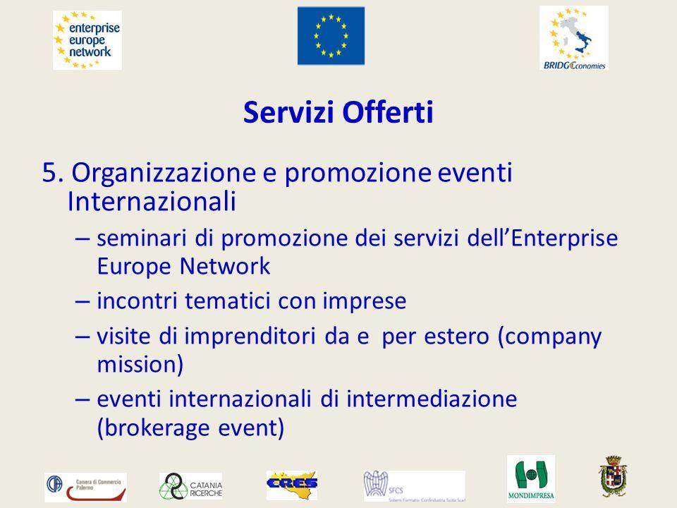 Servizi Offerti 5. Organizzazione e promozione eventi Internazionali – seminari di promozione dei servizi dellEnterprise Europe Network – incontri tem