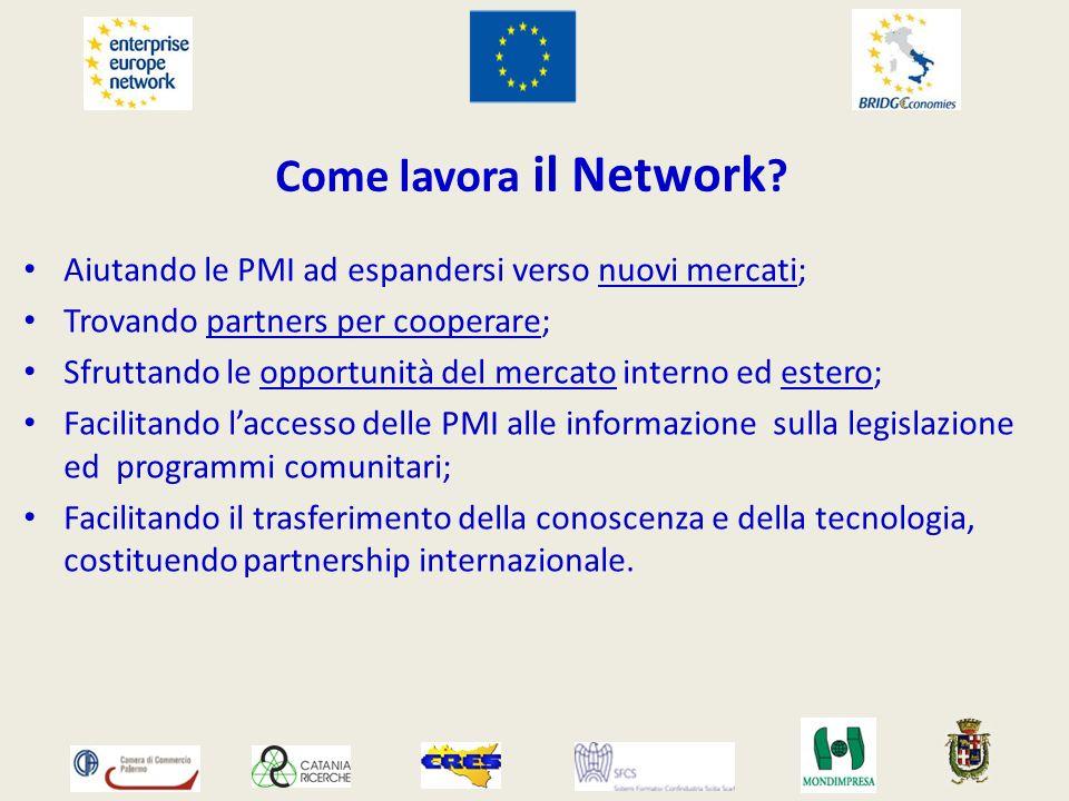 Come lavora il Network ? Aiutando le PMI ad espandersi verso nuovi mercati; Trovando partners per cooperare; Sfruttando le opportunità del mercato int