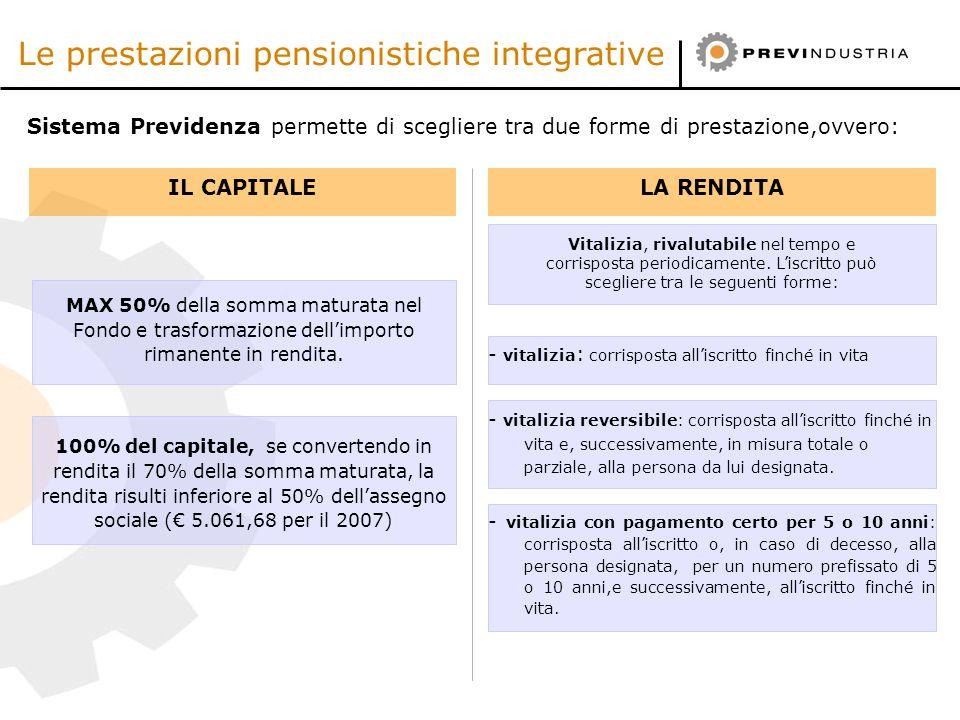 Le prestazioni pensionistiche integrative MAX 50% della somma maturata nel Fondo e trasformazione dellimporto rimanente in rendita. Sistema Previdenza