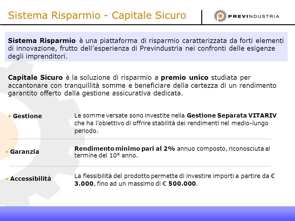 Sistema Risparmio - Capitale Sicuro Sistema Risparmio è una piattaforma di risparmio caratterizzata da forti elementi di innovazione, frutto dellesper