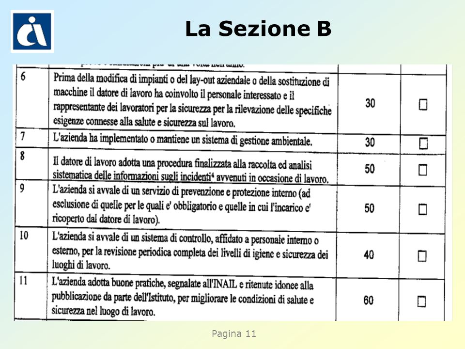 Pagina 11 La Sezione B