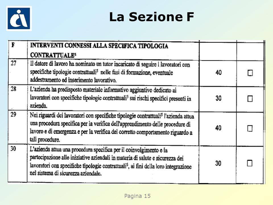 Pagina 15 La Sezione F