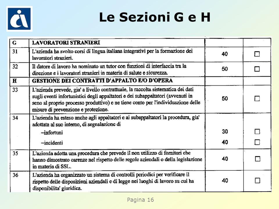 Pagina 16 Le Sezioni G e H