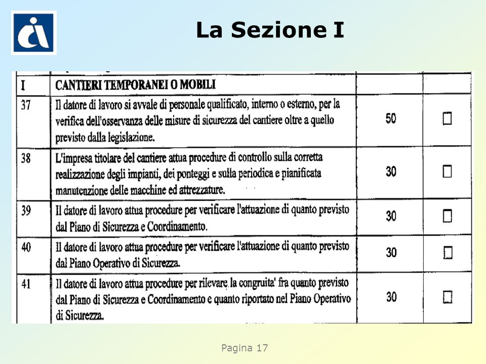 Pagina 17 La Sezione I