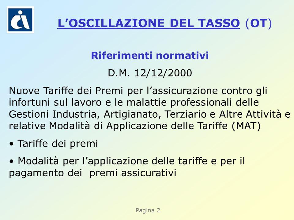 Pagina 2 Riferimenti normativi D.M. 12/12/2000 Nuove Tariffe dei Premi per lassicurazione contro gli infortuni sul lavoro e le malattie professionali